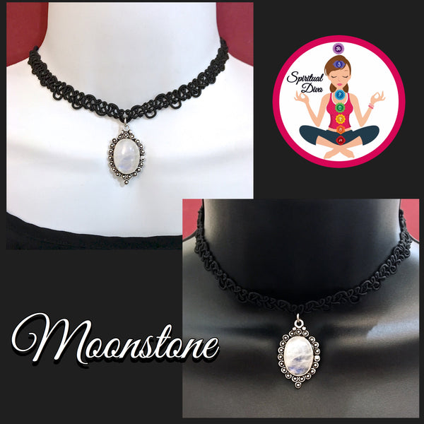 Moonstone Healing Crystal Black Silver Reiki Choker Gemstone Necklace - Spiritual Diva Jewelry