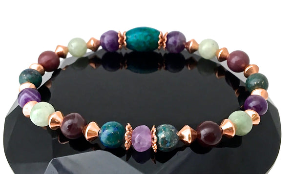 GIVE ME STRENGTH Grief Healing Crystal Copper Reiki Stretch Bracelet - Spiritual Diva Jewelry