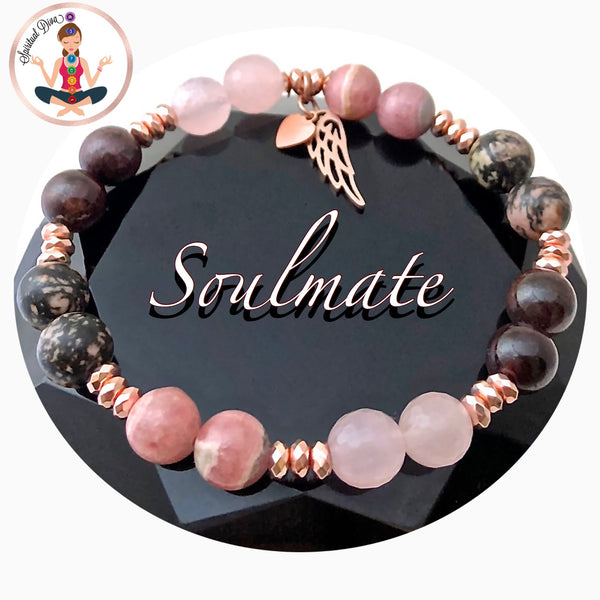 Soulmate Love Healing Crystal Rose Gold Reiki Gemstone Angel Bracelet - Spiritual Diva Jewelry
