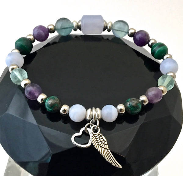 Stress Anxiety Relief Healing Crystal Reiki Angel Gemstone Bracelet - Spiritual Diva Jewelry