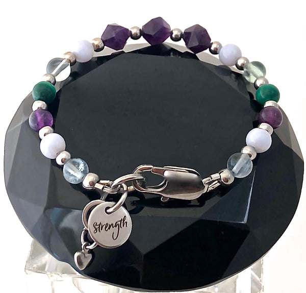 Stress Anxiety Relief Healing Crystal Reiki Gemstone Strength Bracelet - Spiritual Diva Jewelry
