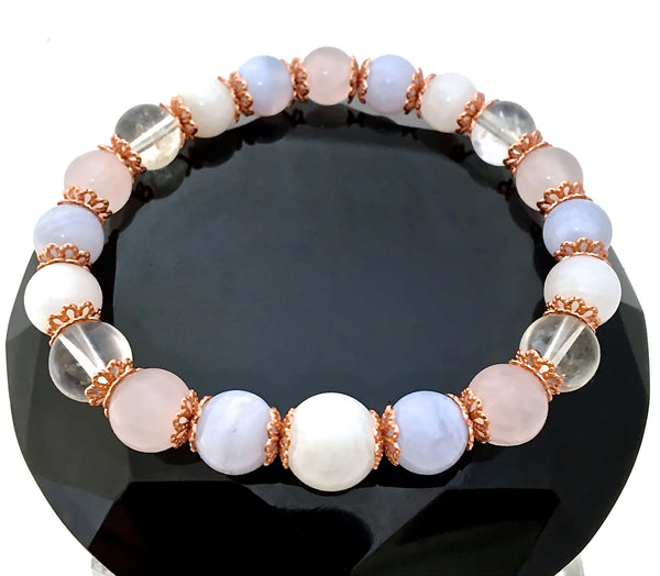 New Mother Baby Reiki Energy Healing Crystal copper gemstone stretch Bracelet - Spiritual Diva Jewelry