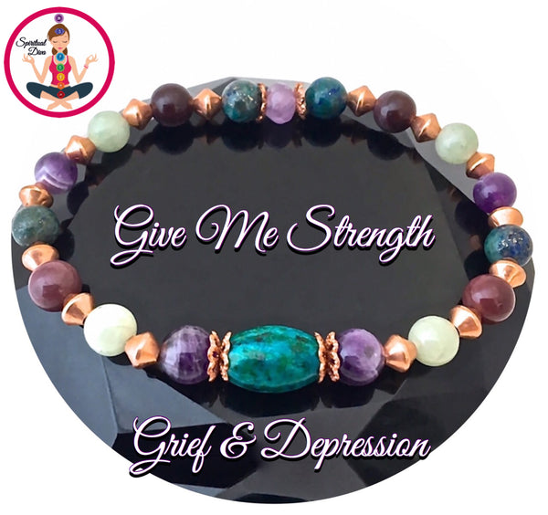 STRENGTH Grief Depression Gift Healing Crystal Copper Reiki Bracelet - Spiritual Diva Jewelry
