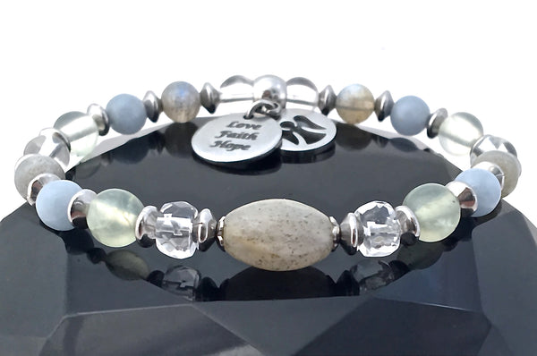 Guardian Angel Energy Healing Crystal Reiki Gemstone Charm Bracelet -Spiritual Diva Jewelry