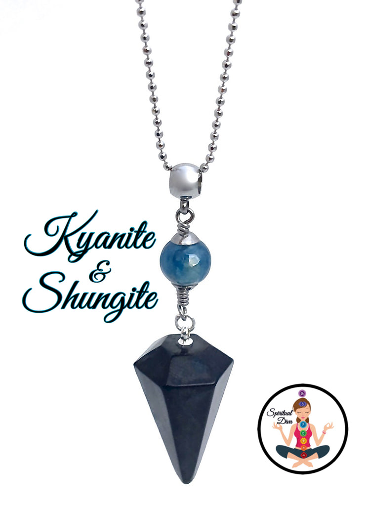 Shungite Kyanite Healing Crystal Reiki Gemstone EMF Necklace Pendulum - Spiritual Diva Jewelry