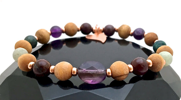 STRENGTH Grief Depression Healing Crystal Reiki Olive Wood Bracelet - Spiritual Diva Jewelry