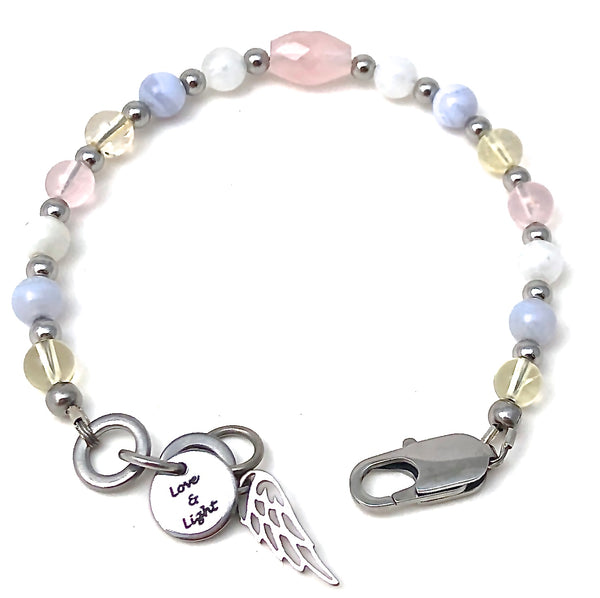 New Mother Baby Reiki Energy Healing Crystal Gemstone Angel Bracelet - Spiritual Diva Jewelry