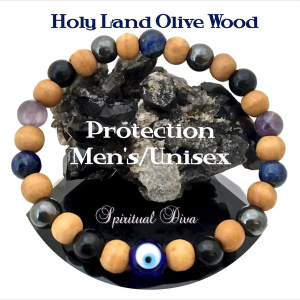 PROTECTION Evil Eye Mens Healing Crystal Reiki Olive Wood Bracelet - Spiritual Diva Jewelry