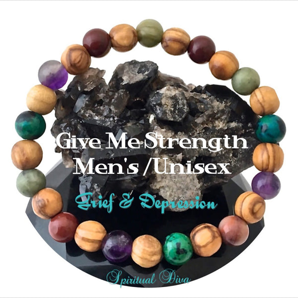 STRENGTH Grief Depression Healing Crystal Reiki Olive Wood Mens Unisex Bracelet - Spiritual Diva Jewelry