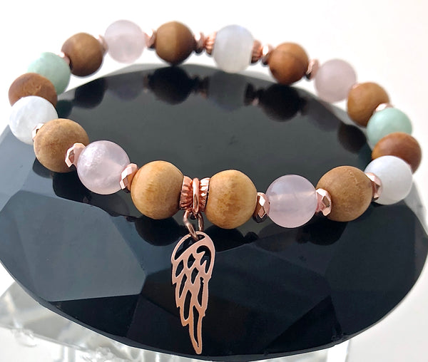 FERTILITY PREGNANCY Gemstone Reiki Olive Wood Rose Gold IVF Bracelet - Spiritual Diva Jewelry