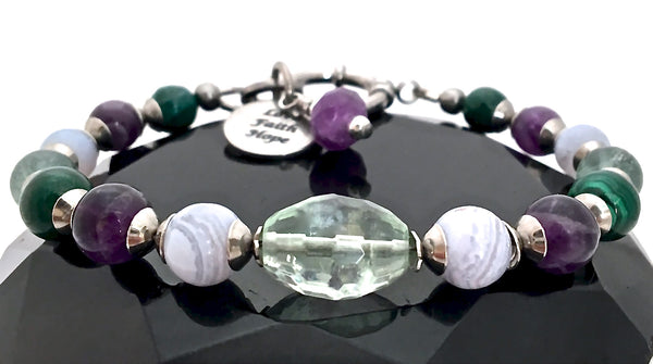 Stress Anxiety Relief Energy Healing Crystal Reiki Gemstone Bracelet - Spiritual Diva Jewelry