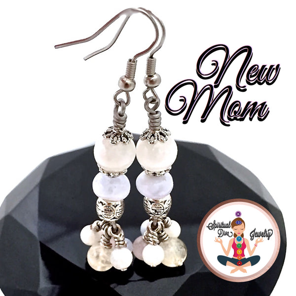 New Mother Baby Gift, Energy Healing Crystal Reiki Earrings SALE - Spiritual Diva Jewelry