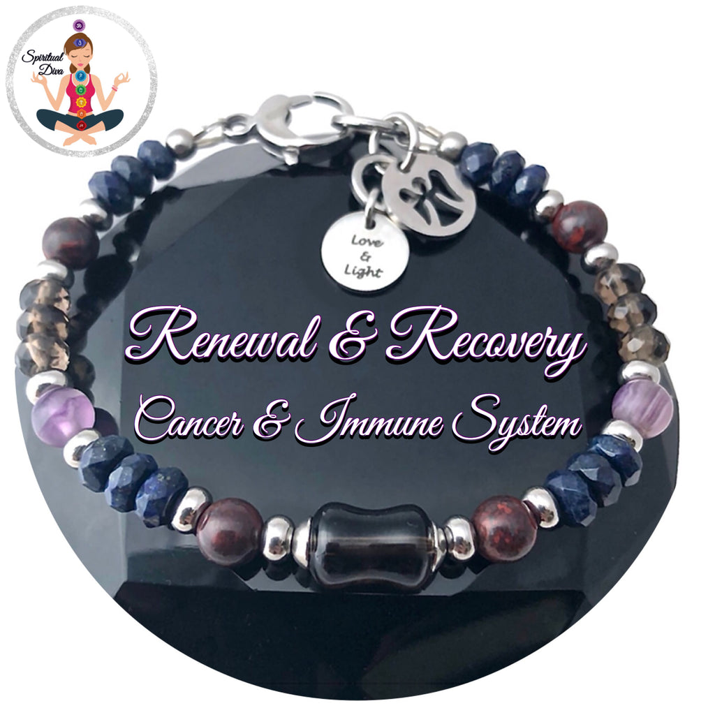 Cancer Immune System Recovery Healing Crystal Reiki Angel gemstone Bracelet - Spiritual Diva Jewelry