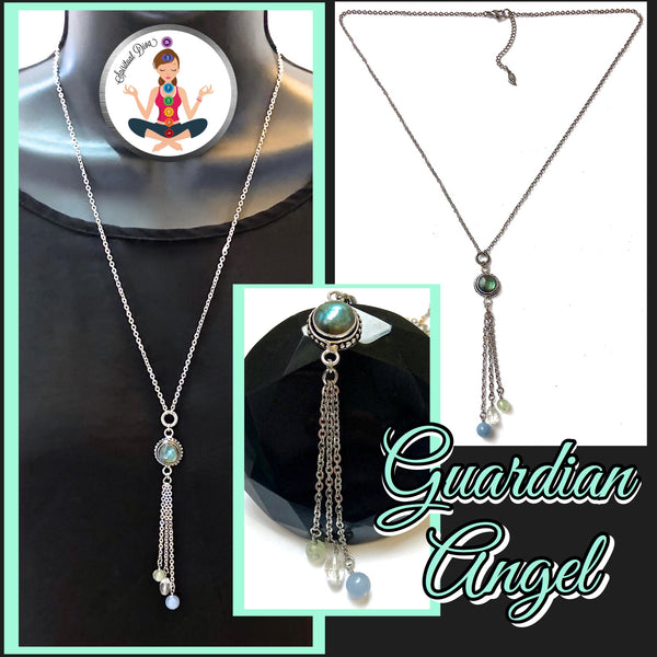Guardian Angel Energy Healing Crystal Reiki Gemstone Tassel Necklace - Spiritual Diva Jewelry