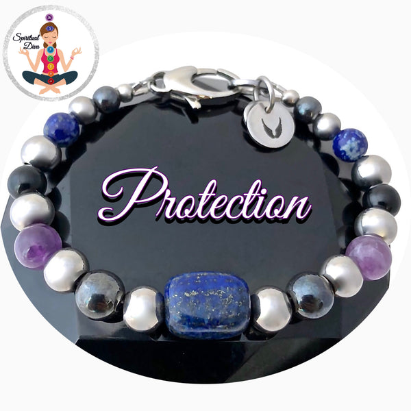Protection Energy Healing Crystal Reiki Gemstone Angel Charm Bracelet - Spiritual Diva Jewelry