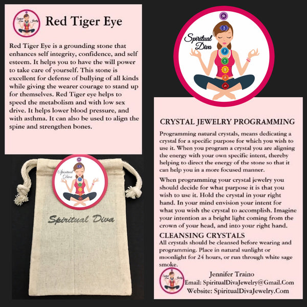 Red Tiger Eye Healing Crystal Reiki gemstone description cards gift bag - Spiritual Diva