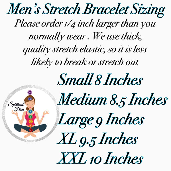 Spiritual Diva Men's Stretch Bracelet Sizing
