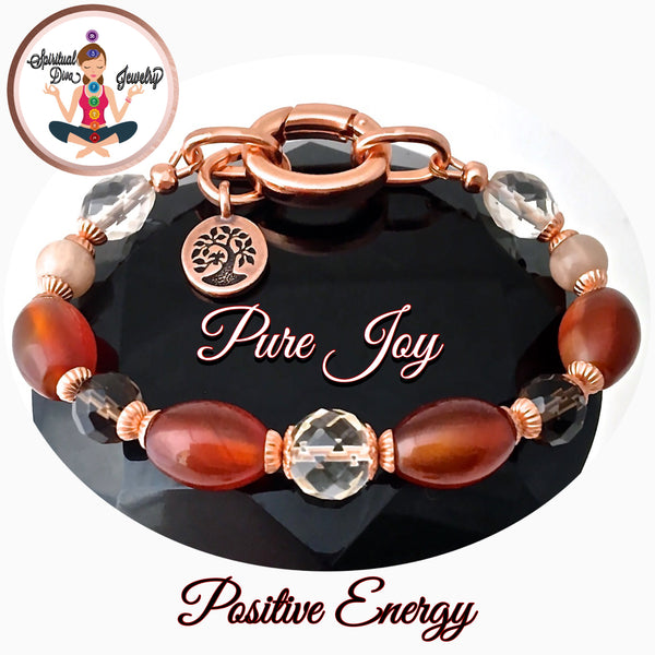 Pure Joy Positive Energy Healing Crystal Copper Reiki Charm Bracelet - Spiritual Diva Jewelry