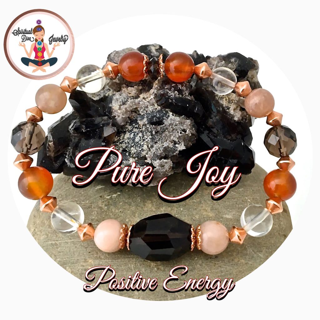 PURE JOY POSITIVE ENERGY Healing Crystal Copper Reiki Stretch Bracelet - Spiritual Diva Jewelry