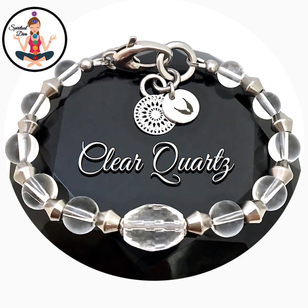 Clear Quartz Healing Crystal Reiki Angel Adjustable Gemstone Bracelet - Spiritual Diva Jewelry
