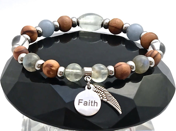 Guardian Angel Healing Crystal Reiki Holy Olive Wood Gemstone Bracelet - Spiritual Diva Jewelry