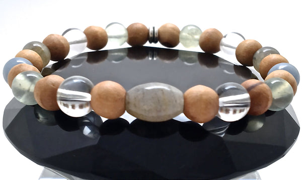 Guardian Angel Mens Healing Crystal Reiki Olive Wood Gemstone Bracelet - Spiritual Diva Jewelry