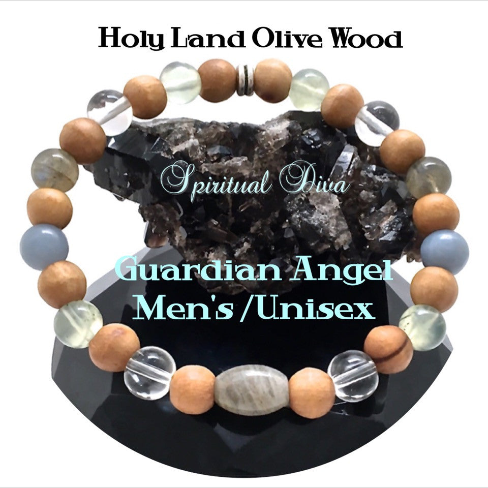 Guardian Angel Healing Crystal Reiki Holy Olive Wood Mens Unisex Gemstone Bracelet - Spiritual Diva Jewelry