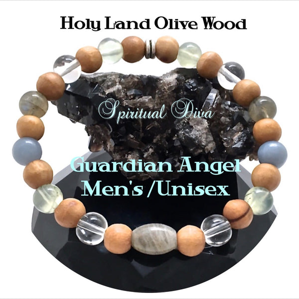Guardian Angel Mens Healing Crystal Reiki Olive Wood Gemstone Bracelet