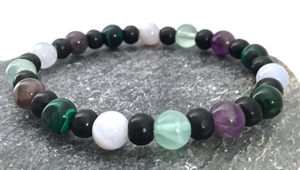 Stress  Anxiety Relief Energy Healing Crystal Reiki Mens Unisex wood Bracelet - Spiritual Diva Jewelry