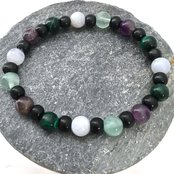 Stress  Anxiety Relief Energy Healing Crystal Reiki Mens Unisex Gemstone wood Bracelet - Spiritual Diva Jewelry