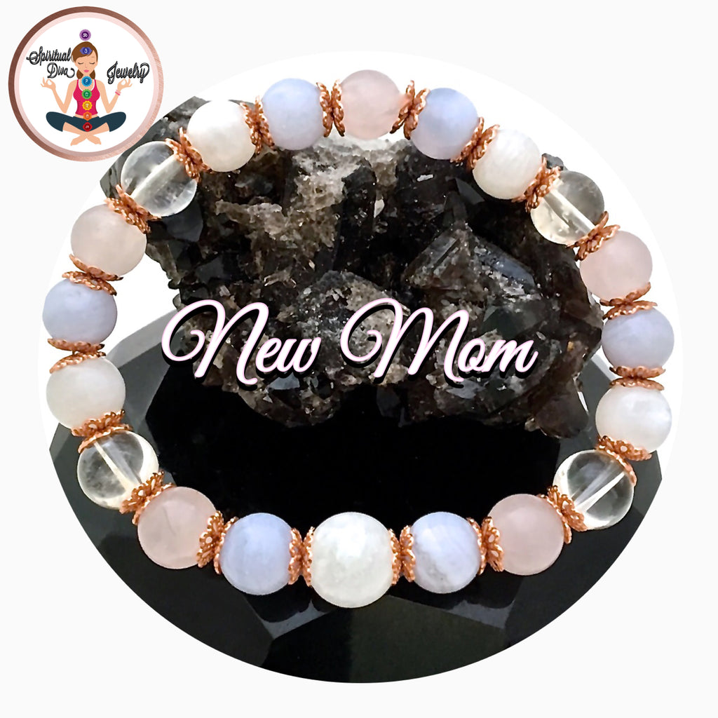 New Mother Baby Energy Healing Crystal Reiki Copper Gemstone stretch bracelet - spiritual diva jewelry