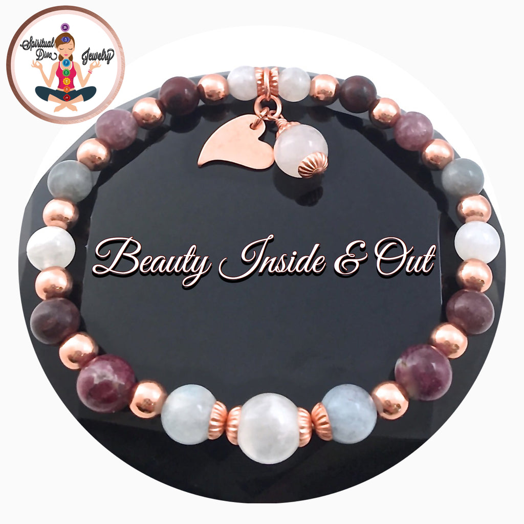 INNER BEAUTY Healing Crystal Reiki Bracelet Copper Moonstone Tourmaline - Spiritual Diva Jewelry