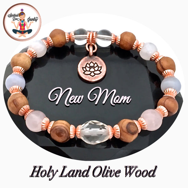 New Mother Baby Healing Crystal Reiki Olive Wood Copper Lotus Bracelet - Spiritual Diva Jewelry