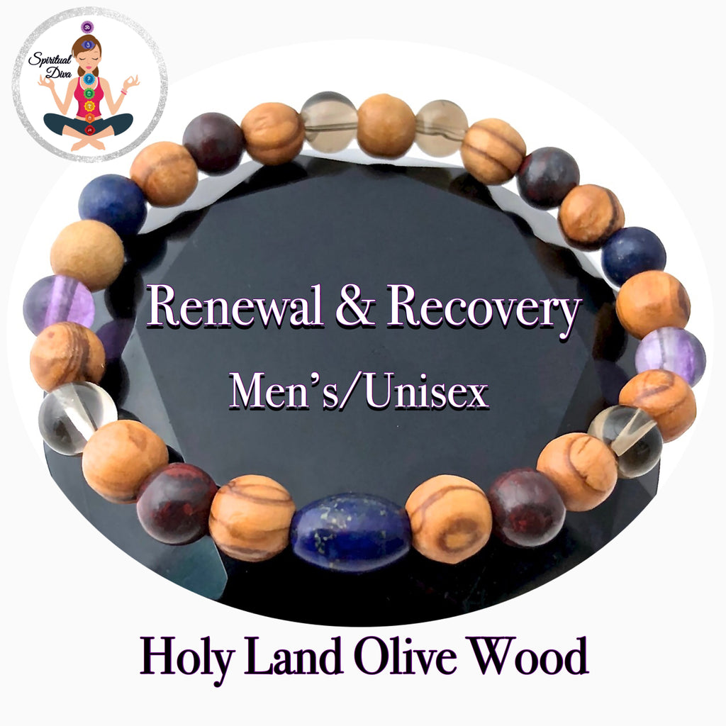 Cancer Immune System Recovery Healing Crystal Men Olive Wood Bracelet - Spiritual Diva Jewelry