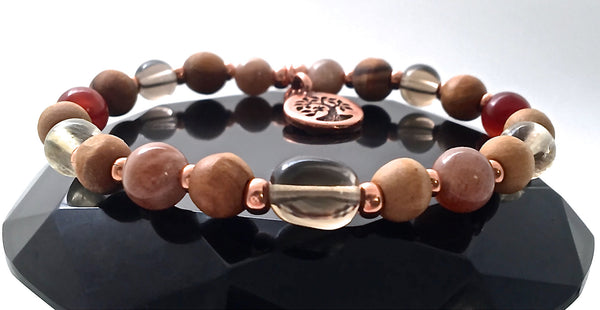 POSITIVE ENERGY Healing Crystal Reiki Olive Wood Copper Charm Bracelet - Spiritual Diva Jewelry