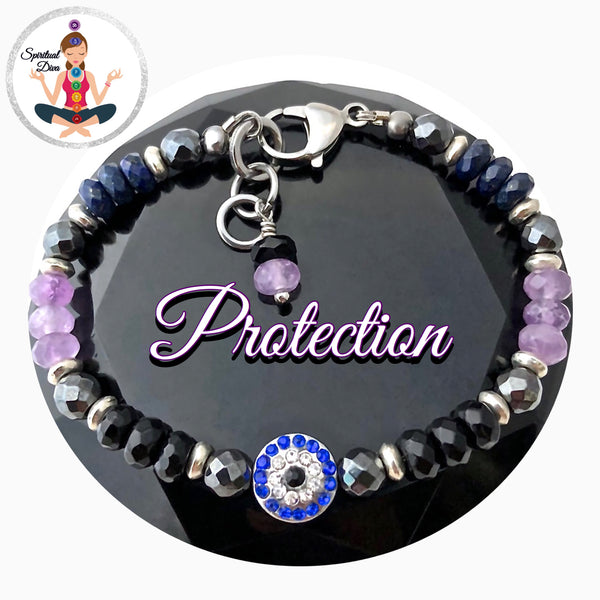 Protection energy healing Crystal reiki Evil Eye bracelet Stainless Steel Spiritual Diva Jewelry