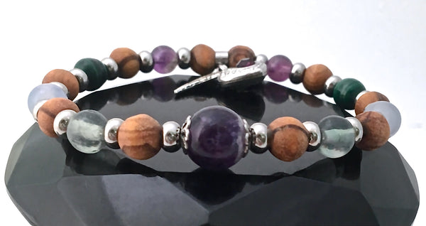 Stress Anxiety Relief Healing Crystal Reiki Olive Wood Angel Bracelet - Spiritual Diva Jewelry
