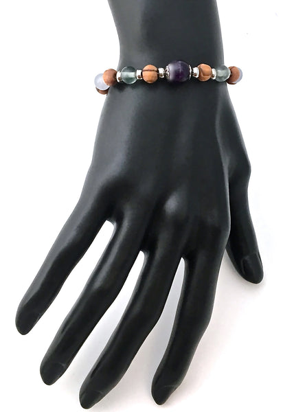 Stress Anxiety Relief Energy Healing Crystal Reiki Olive wood Angel Bracelet - Spiritual Diva Jewelry