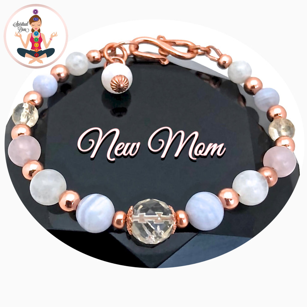 New Mother Baby Energy Healing Crystal Reiki Copper Gemstone adjustable bracelet - spiritual diva jewelry