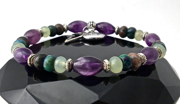 Strength Grief Depression Healing Crystal Reiki Stretch Angel Bracelet - Spiritual Diva Jewelry