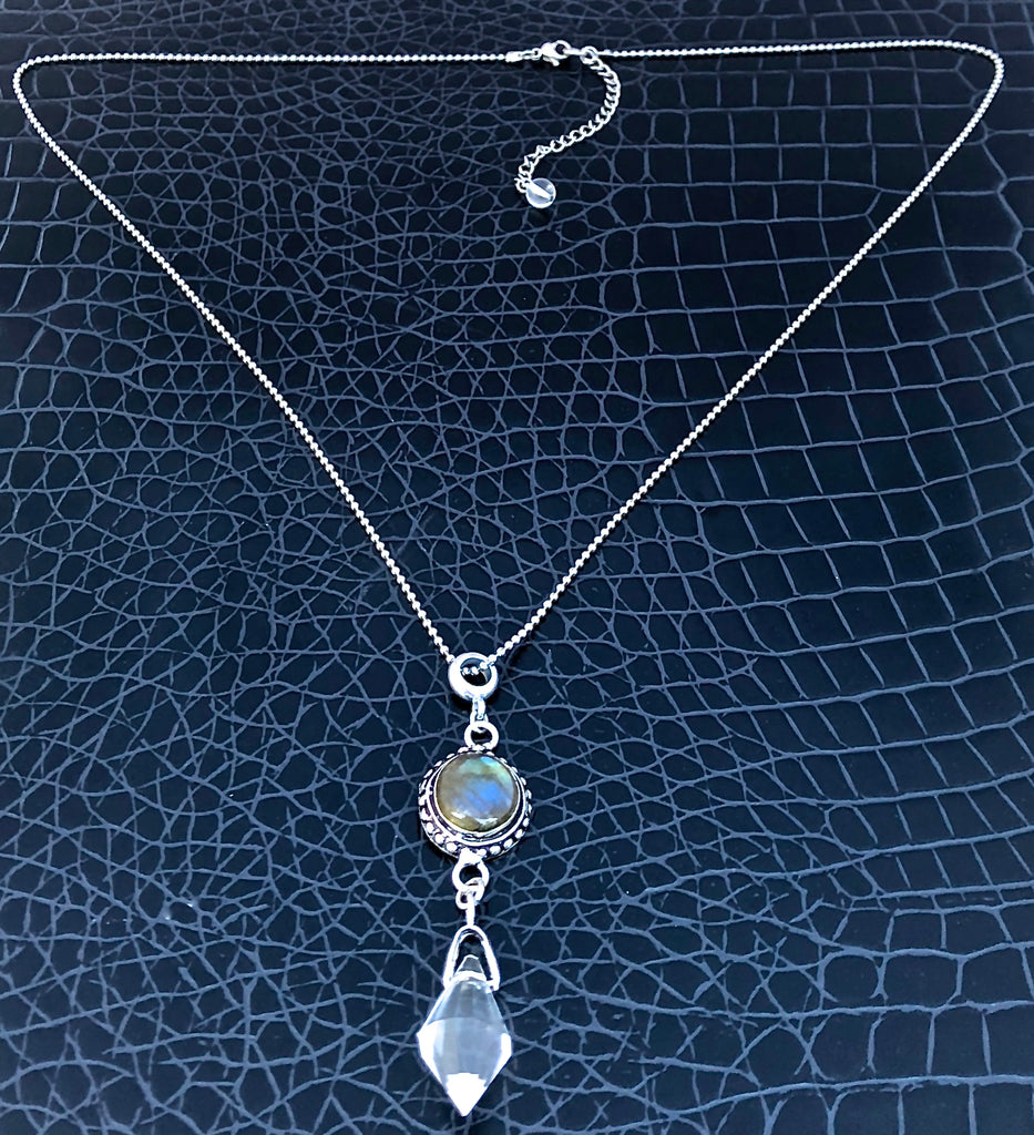 Labradorite and Sterling Silver Necklace Herkimer Diamond
