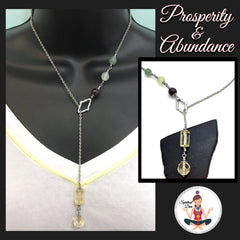 PROSPERITY ABUNDANCE Energy Healing Crystal Reiki gemstone Lariat Necklace  - Spiritual Diva Jewelry