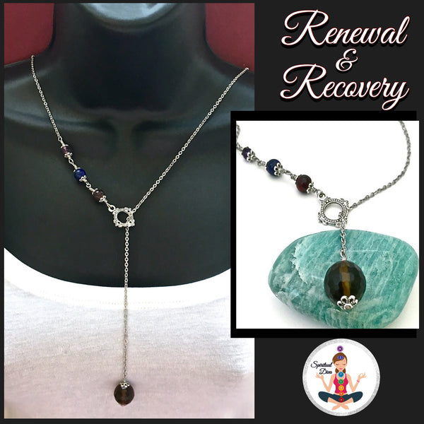 Cancer Immune System Recovery Healing Crystal Reiki Lariat Necklace - Spiritual Diva Jewelry