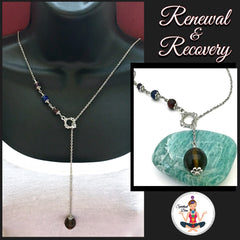 Cancer Immune System Recovery Healing Crystal Reiki Gemstone Lariat Y Necklace - Spiritual Diva Jewelry