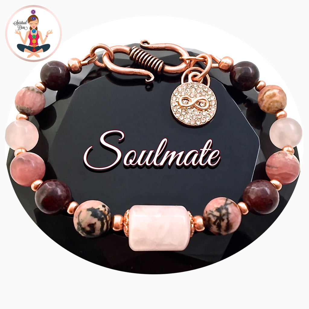 Soulmate Attract Love Healing Crystal Rose Gold Copper Reiki Bracelet - Spiritual Diva Jewelry