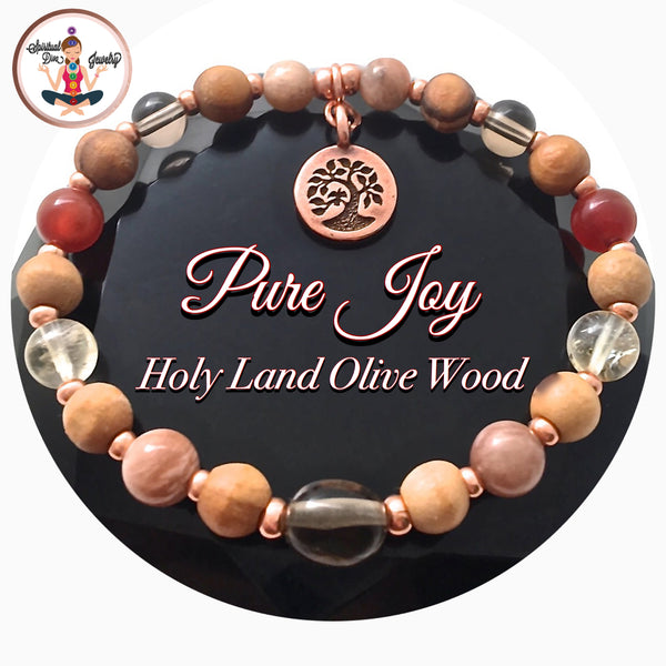 PURE JOY POSITIVE ENERGY Healing crystal Reiki Olive Wood copper Bracelet - Spiritual Diva Jewelry