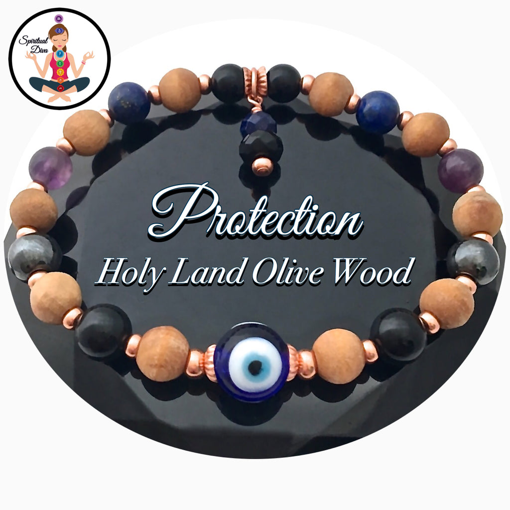 PROTECTION Evil Eye Energy Healing Crystal Reiki Olive Wood Bracelet - Spiritual Diva Jewelry