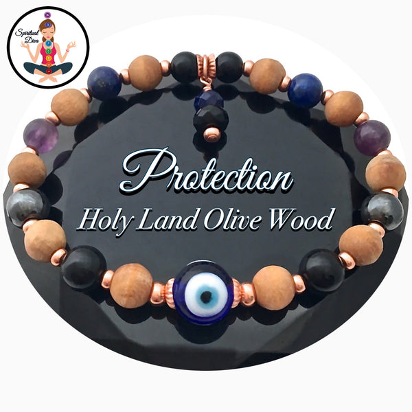 Protection Evil Eye Energy healing Crystal copper Olive Wood bracelet - Spiritual Diva Jewelry