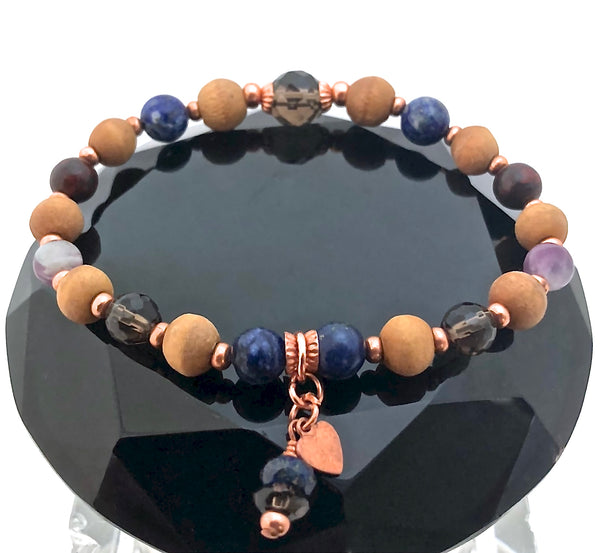 Cancer Immune System Healing Crystal Reiki Olive Wood Copper Bracelet - Spiritual Diva Jewelry