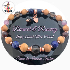 Cancer Immune System Recovery Healing Crystal Reiki Olive Wood Copper Bracelet - Spiritual Diva Jewelry